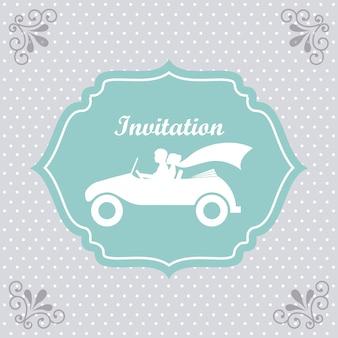 Diseño de boda sobre fondo punteado ilustración vectorial