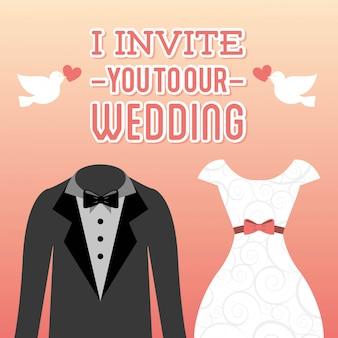 Diseño de boda sobre fondo rosa ilustración vectorial