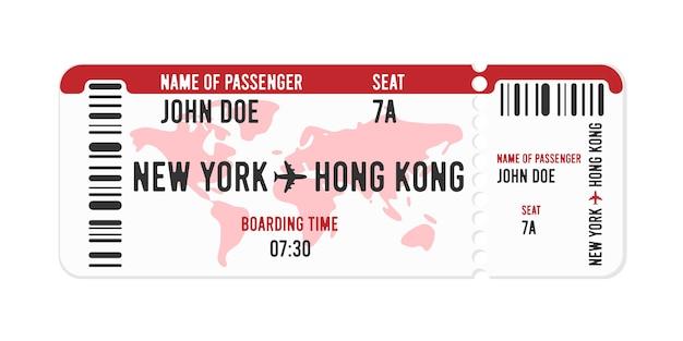 Diseño de boleto de avión de estilo de dibujos animados con nombre de pasajero.