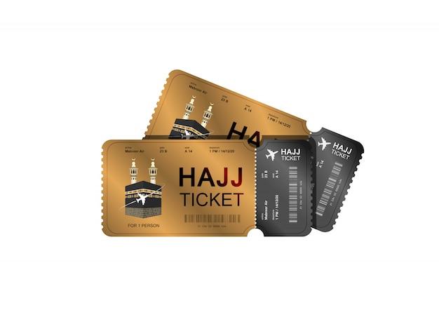 Diseño de boleto de oro de peregrinación al hajj
