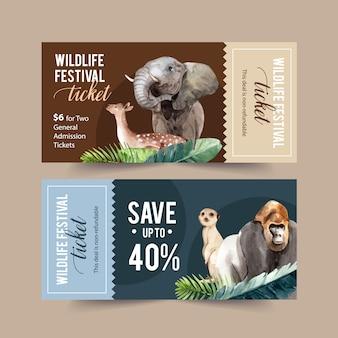 Diseño de boleto zoológico con elefante, ciervo, mono ilustración acuarela.
