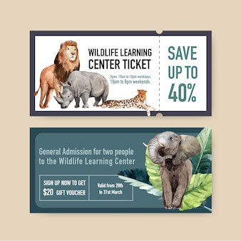 Diseño de boleto zoológico con león, rinoceronte, elefante ilustración acuarela.