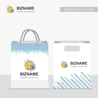Diseño de bolsas de compras de la compañía con vector logo de error