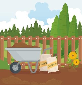 Diseño de bolsas de fertilizante y flores de carretilla de jardinería, plantación de jardines y naturaleza