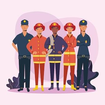 Diseño de bomberos y policías trabajadores