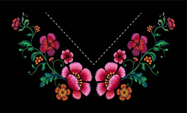 Diseño de bordado para escote. diseño floral para blusas y camisetas de moda.