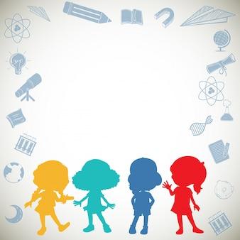Diseño de borde con silueta de niños