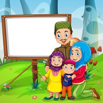 Diseño de bordes con familia musulmana.