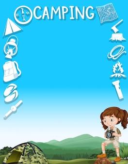 Diseño de bordes con niña y herramientas de camping.