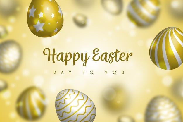 Diseño borroso feliz día de pascua con huevos de oro