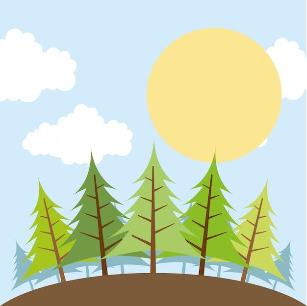 Diseño de bosque sobre ilustración de vectores de fondo de cielo