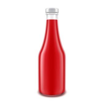 Diseño de botella de salsa de tomate en blanco