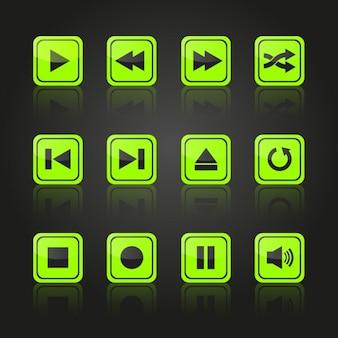 Diseño de botones verdes multimedia