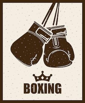 Diseño de boxeo sobre fondo beige ilustración vectorial