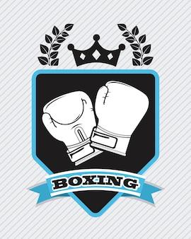 Diseño de boxeo sobre fondo lineal ilustración vectorial