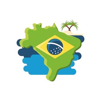 Diseño de brasil con el mapa del país y los iconos relacionados con la isla
