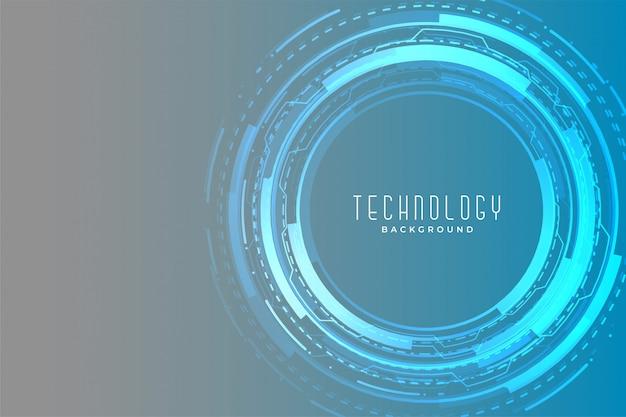 Diseño brillante de banner futurista circular de tecnología digital
