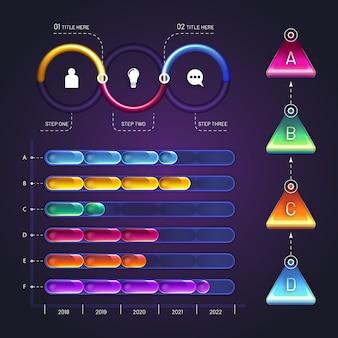 Diseño brillante de elementos de infografía