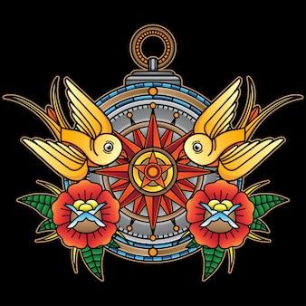 Diseño de brújula de tatuaje vintage