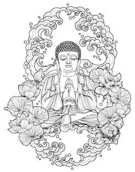 Diseño de buda de arte del tatuaje en dibujo y boceto a mano de loto