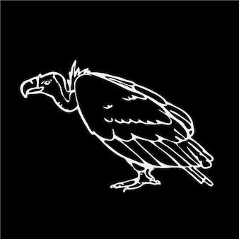 Diseño de buitre en blanco y negro