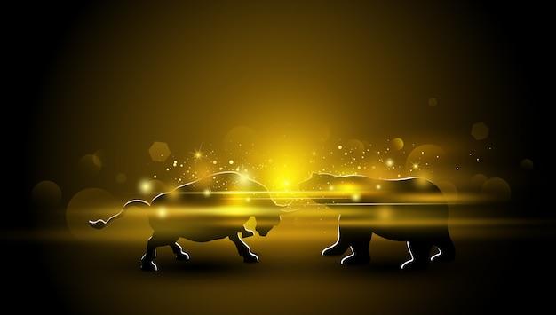 Diseño bursátil de toro y oso con efecto de luz dorada.