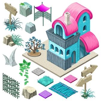 Diseño de cabañas y elementos de jardín.