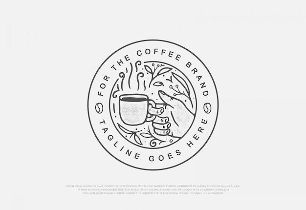 Diseño de café natural premium con insignia de estilo de arte lineal