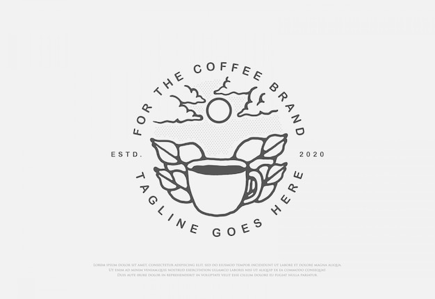 Diseño de café natural premium con logotipo de estilo de arte lineal