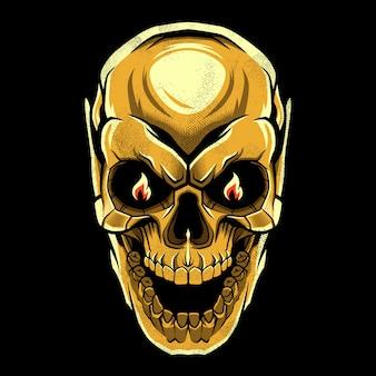 Diseño de calavera malvada de oro
