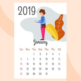 Diseño de calendario para 2019. hermoso diseño de calendario para 2019