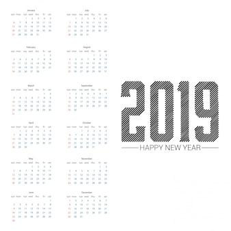 Diseño de calendario 2019 con vector de fondo claro