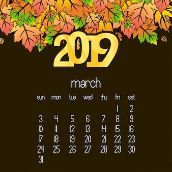 Diseño de calendario 2019 con vector de fondo drak marrón