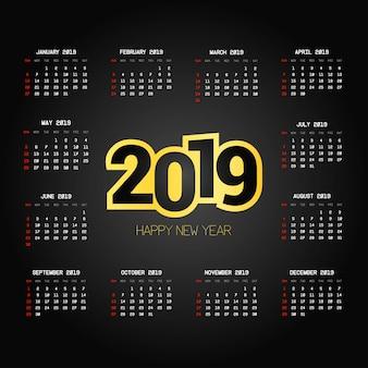 Diseño de calendario 2019 con vector de fondo negro