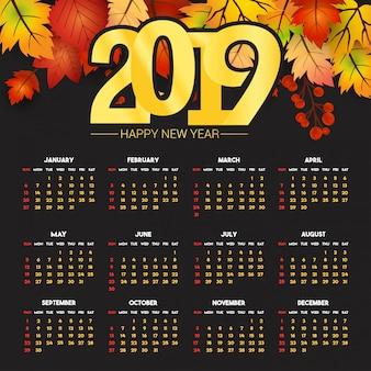 Diseño de calendario 2019 con vector de fondo oscuro