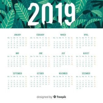 Diseño de calendario de 2019