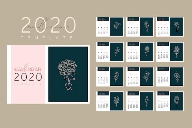 Diseño del calendario 2020 listo para imprimir