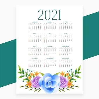 Diseño de calendario 2021 en tema de estilo floral.