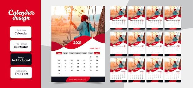 Diseño de calendario de año nuevo 2021