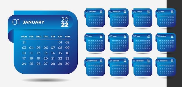 Diseño de calendario de año nuevo 2022 de estilo moderno en estilo cinta