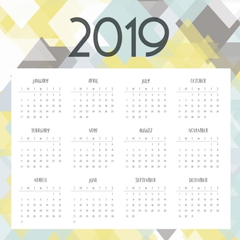 Diseño de calendario de baja poli