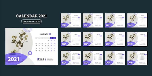 Diseño de calendario de escritorio 2021 conjunto de plantillas de 12 meses, la semana comienza el lunes,