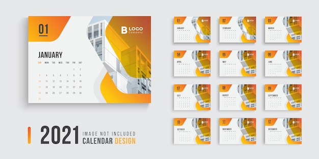 Diseño de calendario de escritorio para 2021 con modernas formas de degradado