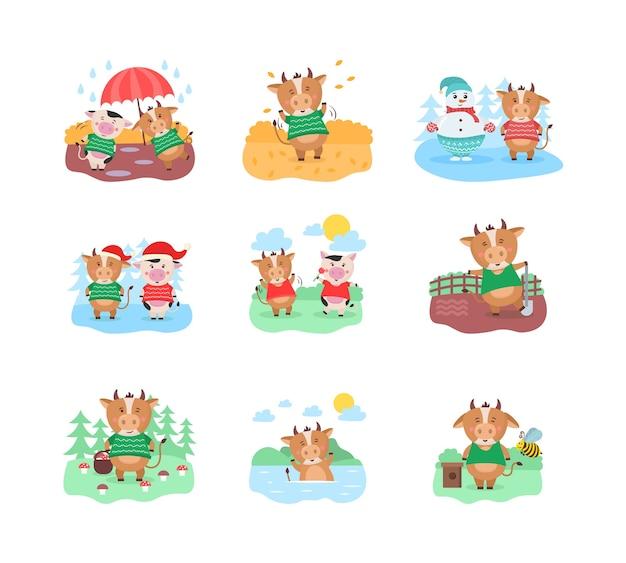 Diseño de calendario con toro con pasatiempos en diferentes temporadas.