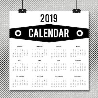Diseño de calendario vector 2019