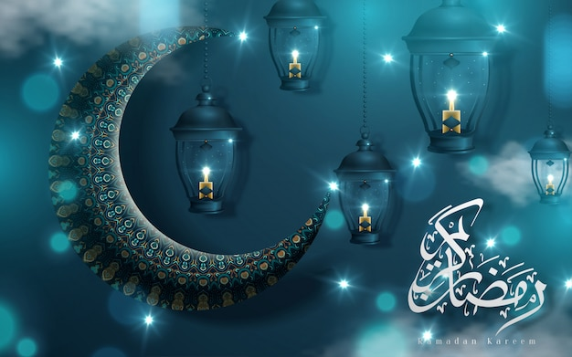 Diseño de caligrafía de ramadan kareem con media luna y fanoos sobre fondo arabesco