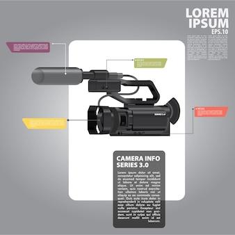 Diseño de cámara de fotos infografía