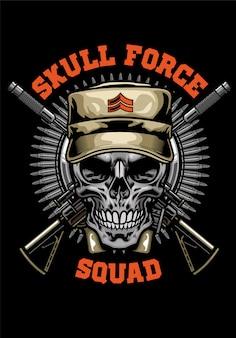 Diseño de camisa de calavera militar