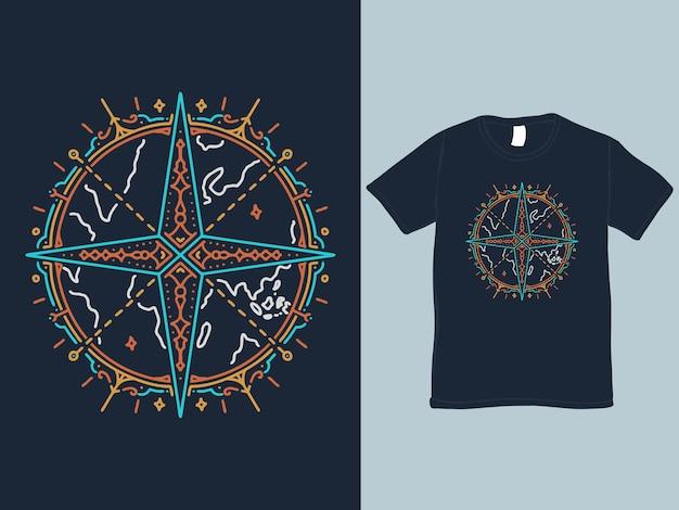 El diseño de la camisa monoline de la brújula mundial.