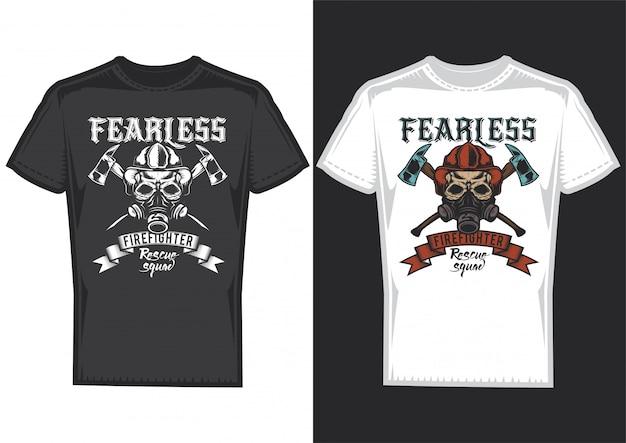 Diseño de camiseta en 2 camisetas con carteles de bomberos con cintas y hachas.